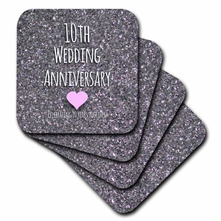 3dRose 10th Wedding Anniversary gift - Tin bits photo celebrating 10 years together tenth anniversaries ten, Soft Coasters, set of - Photo Coaster