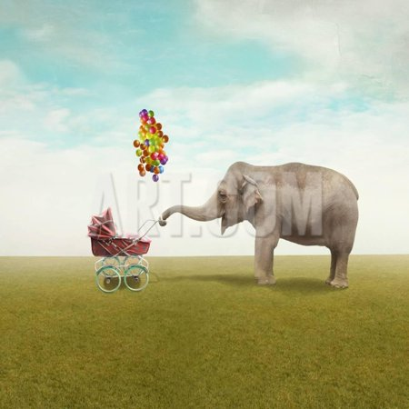 Funny Illustration with a Beautiful Elephant Leading Walking Her Child in a Wheelchair Print Wall Art By Valentina Photos ()