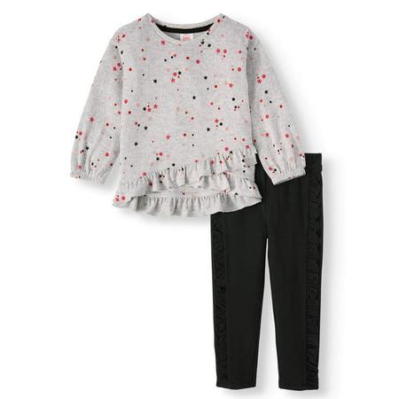 Wonder Nation Toddler Girl Asymmetrical Ruffle Knit Top & Leggings, 2 pc Outfit Set