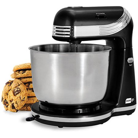 Dash GO Everyday Mixer Dash GO Everyday Mixer: Whip up healthy treats and moreConvenient and compactDesigned with a small footprint, this compact stand mixer fits underneath most kitchen cabinetsPosition of rotating mixing bowl can be adjusted to allow for better mixingIncludes: 2 dough hooks and 2 beaters with 2.5 qt stainless steel mixing bowl250W1-year warranty