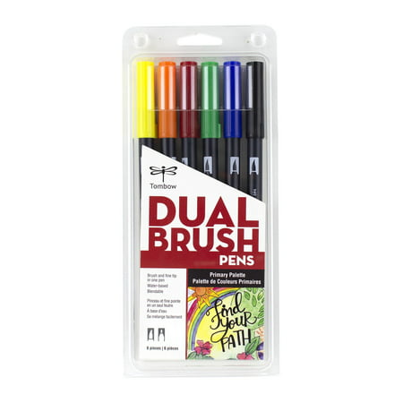 6ct Dual Brush Pen Art Markers Primary Palette - Tombow