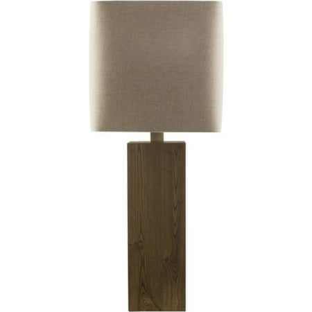 32 5 rectangular wooden base table lamp with gray quadratic retro shade. Black Bedroom Furniture Sets. Home Design Ideas