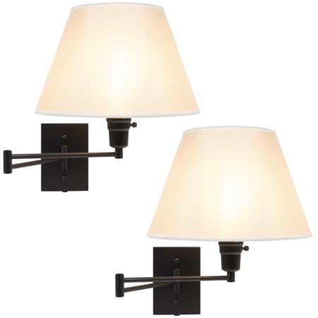 Best Choice Products Set of 2 Swing Arm Wall Lamp Sconces for Living Room, Bedroom, Entryway w/ Beige Shade, Cord Cover - Matte Black Black Swing Arm Wall Lamp