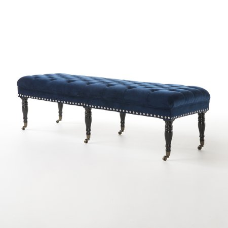 Clementine Velvet Bench with Casters, Navy Blue ()