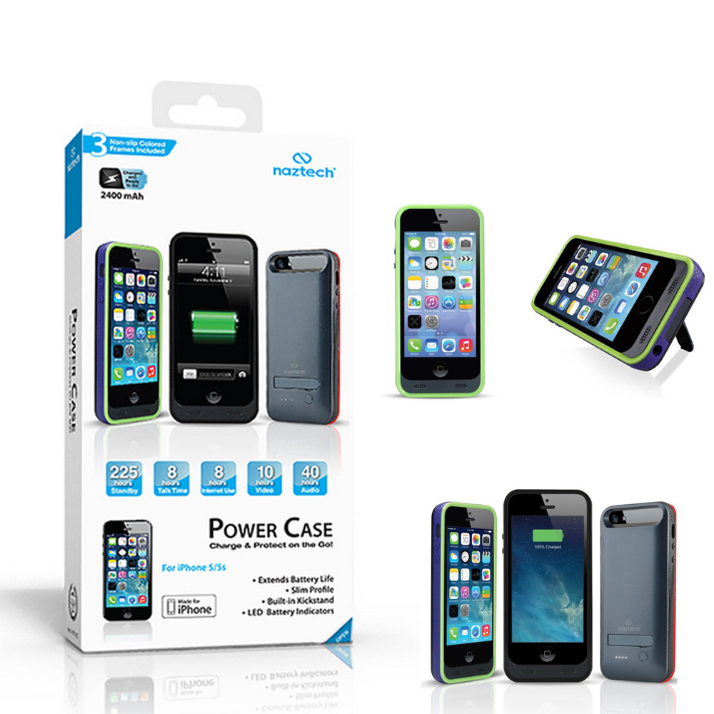 NAZTECH 2400mAh Slim Fit Power Case w/ Kickstand for Apple iPhone 5/5s - Black