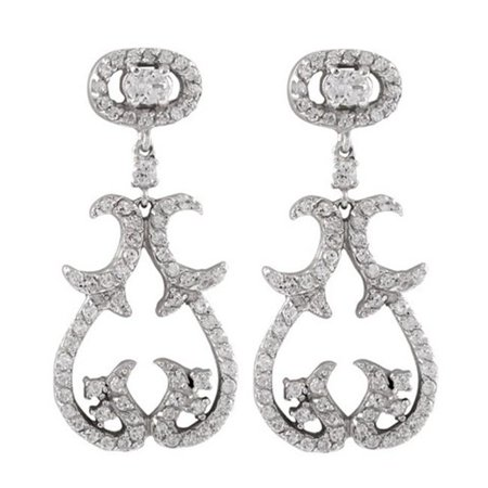 Dlux Jewels Sterling Silver Cubic Zirconia Crawler Climber Earrings - image 1 de 1