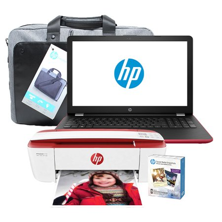 HP Notebook - 15-bw010cy, AMD A9 Series@3.0 GHz, 4 GB DDR4 RAM, Windows 10, and HP 3755 inkjet printer with Socal Media Photo Paper, with an HP Essential Top Load Case Bundle (Renewed) 2 Gb Jet Series
