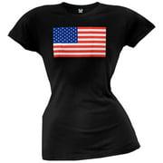American Flag Black Juniors T-Shirt - Medium
