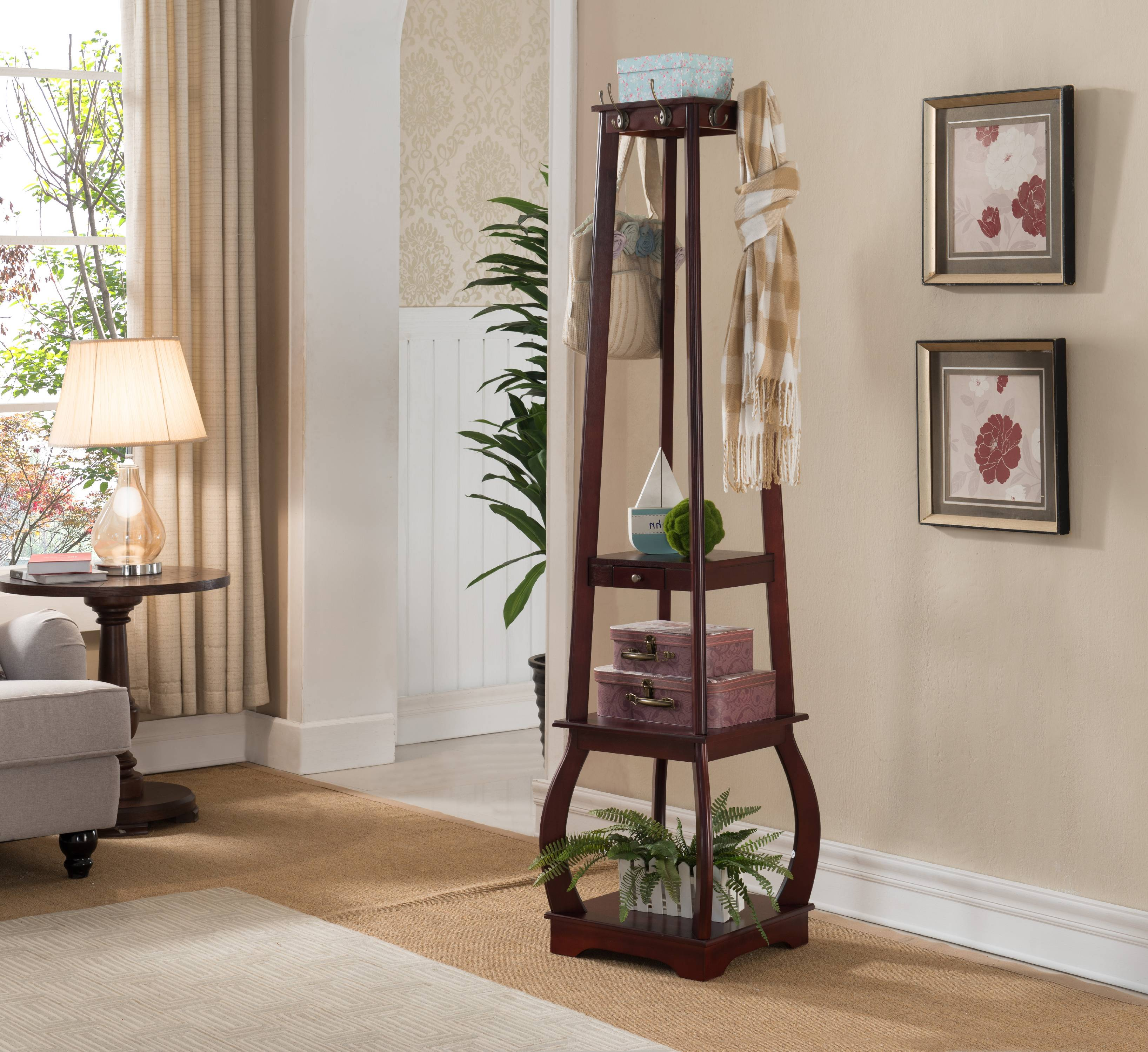Cherry Wood 8 Hook Entryway Coat & Hat Rack Display Stand With Storage Shelves &