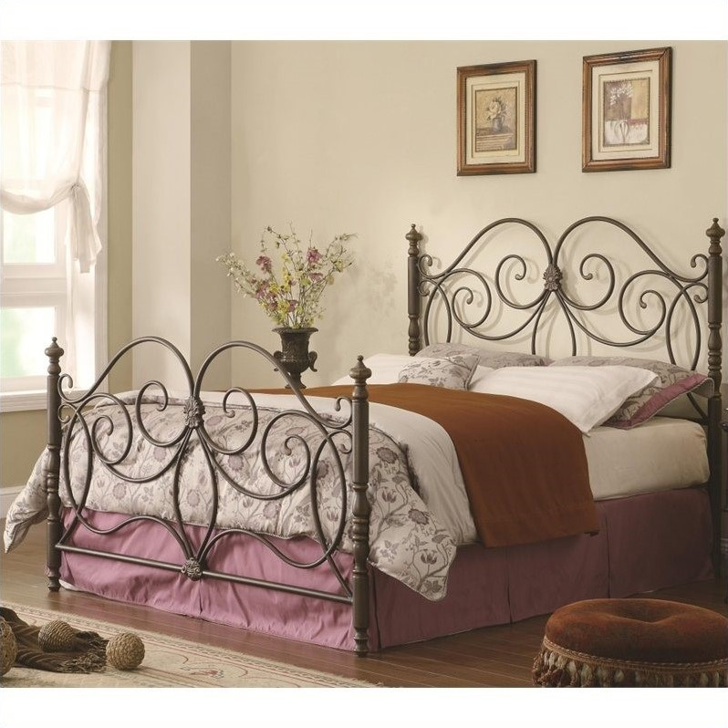 Kingfisher Lane Queen Iron Spindle Headboard and Footboard in Bronze