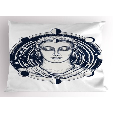 Psychedelic Pillow Sham Occult Human Figure on Foreground of Planetary Space System Magic Graphic, Decorative Standard Queen Size Printed Pillowcase, 30 X 20 Inches, Berry Pale Grey, by Ambesonne