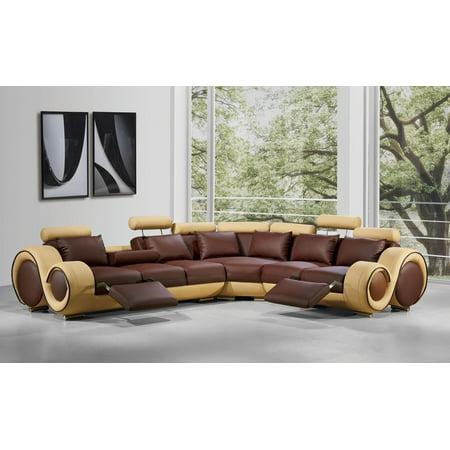 Brown Beige Bonded Leather Sectional Sofa VIG Divani Casa 4087 ()