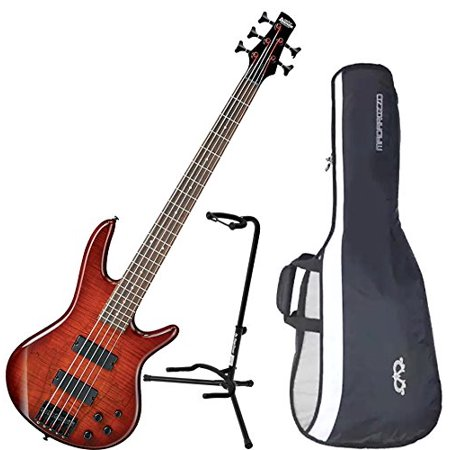 Ibanez GSR205SMCNB 5-String Electric Bass Charcoal Brown Spalted Maple Top w/ Gig Bag and Stand