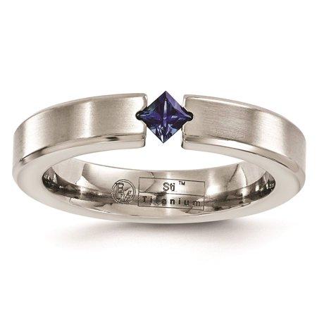 Titanium Satin Finish Sapphire 4mm Wedding Ring Band Size - Satin Finish Titanium Ring