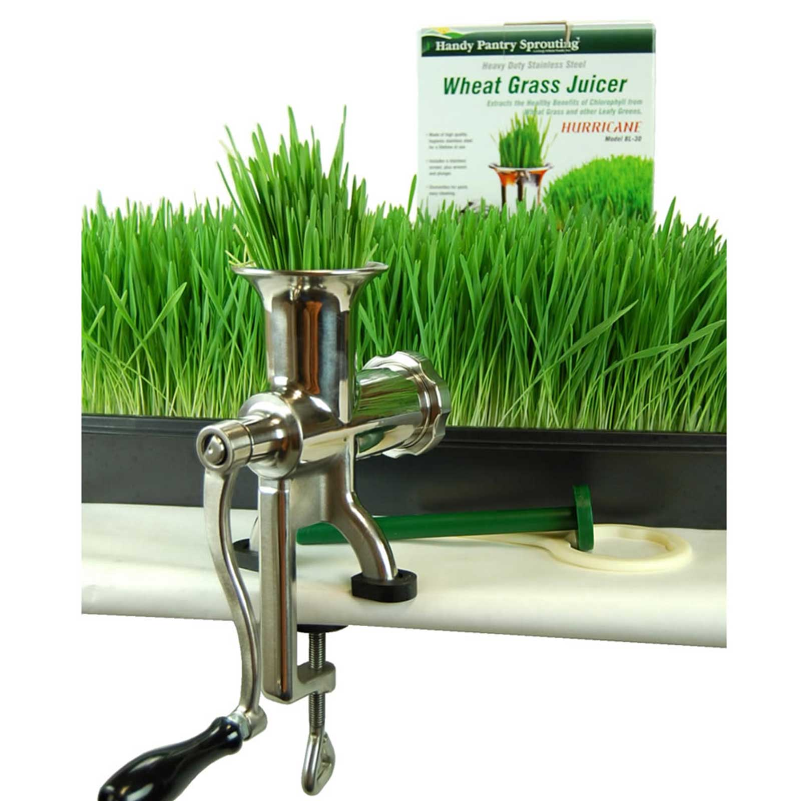 Handy Pantry HJ Hurricane Stainless Steel Manual Wheatgrass Juicer - Hand Crank