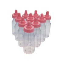 12 Candy Fillable Plastic Bottles Baby Shower Favors 4.5 Inches Tall (Pink)
