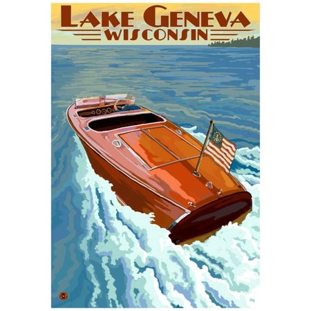 - Lake Geneva, Wisconsin - Chris Craft Wooden Boat Poster - 13x19