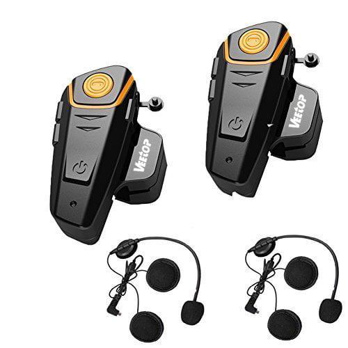 Veetop 2 x 800m Water Resistant Bluetooth Motorcycle Moto...