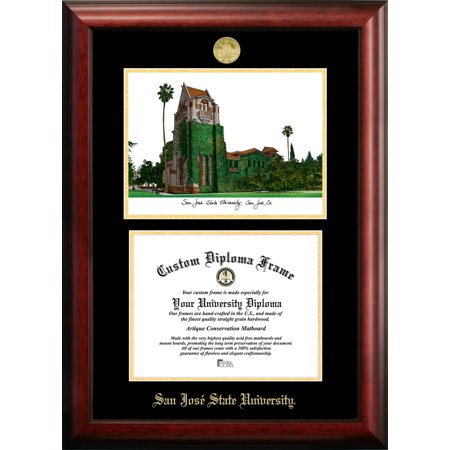 "San Jose State University 8.5"" x 11"" Gold Embossed Diploma Frame with Campus Images Lithograph"