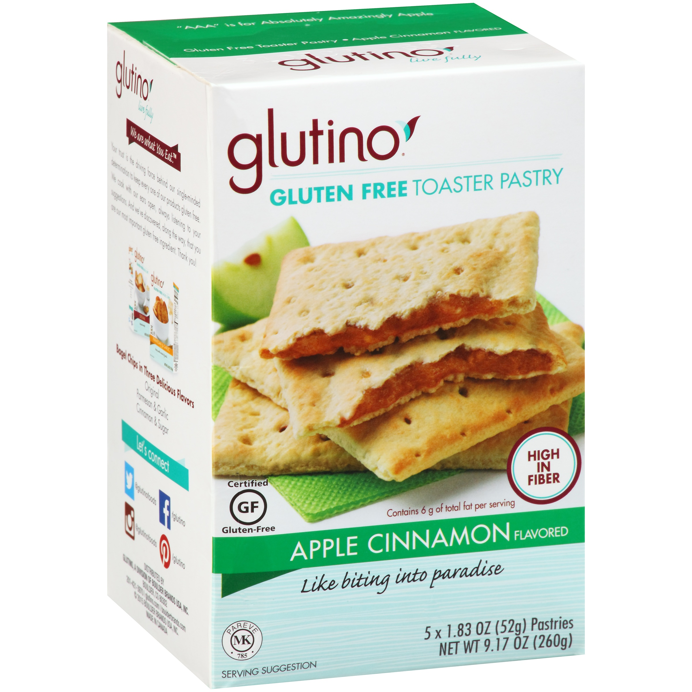 Glutino Gluten Free Toaster Pastry Apple Cinnamon, 5 ct by Glutino, A Boulder Brands USA, Inc.
