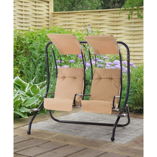 "Sunjoy 110205003 Sherborn Steel Porch Swing with Beige Shades and Cushions, 67"" x... by SunNest Services LLC"