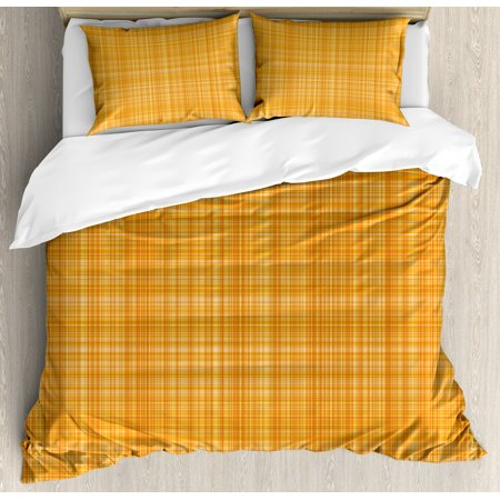 Orange King Size Duvet Cover Set, Striped Fiber Texture Image Abstract Thin Lines Complex Grid in Vintage Design Print, Decorative 3 Piece Bedding Set with 2 Pillow Shams, Orange, by Ambesonne