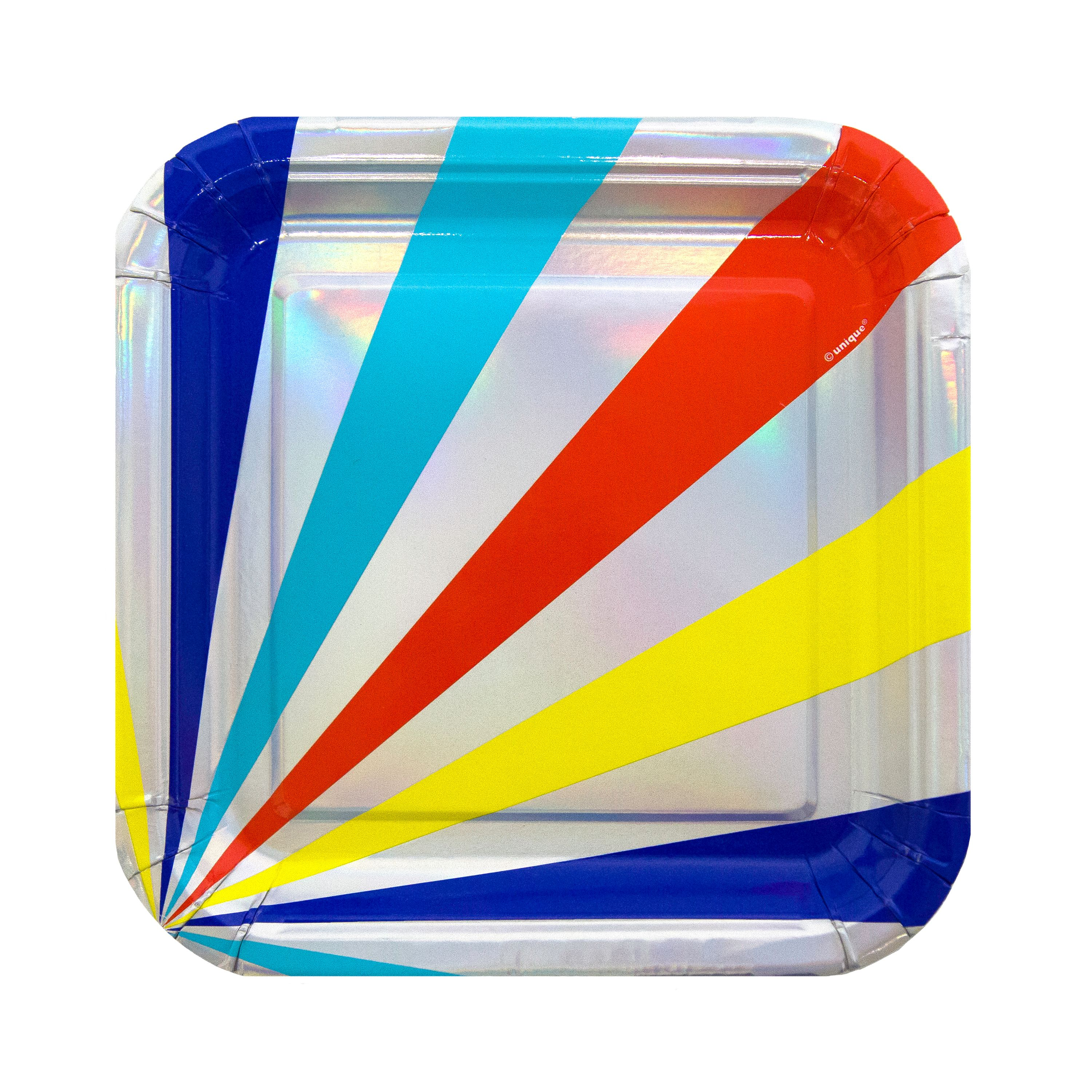 Square Oh Happy Day Paper Plates, 7 in, Iridescent Foil, 10ct