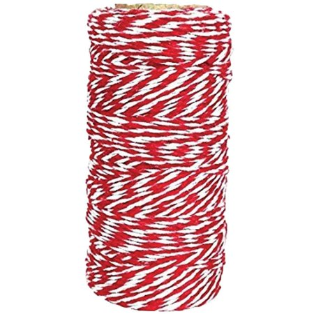 Just Artifacts ECO Bakers Twine 110yd 12Ply Striped Cherry Red - Decorative Bakers Twine for DIY Crafts and Gift (Bakers Twine Set)