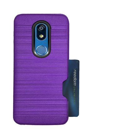 - For LG Solo Case, Straight Talk Solo Case (L423DL), K40 Case, K12 Case, X420 Case, Shock Absorbing Card Holder Cover  (Brush SideCard Purple)