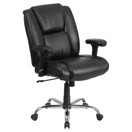 Sharp Series Leather - Flash Furniture HERCULES Series 400-Pound Capacity Big & Tall Black Leather Swivel Task Office Chair with Height Adjustable Arms