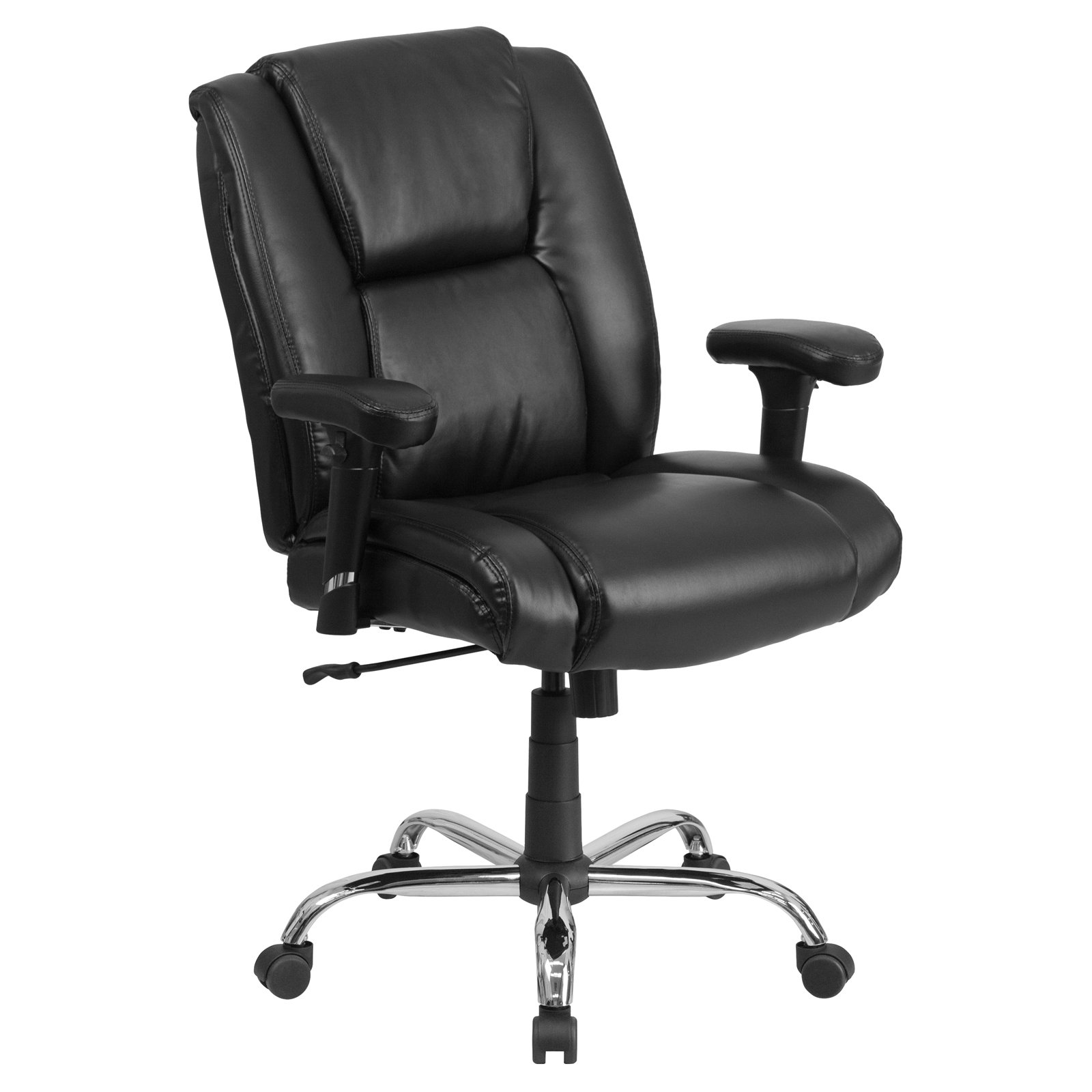 Flash Furniture HERCULES Series 400-Pound Capacity Big & Tall Black Leather Swivel Task Office Chair with Height Adjustable Arms