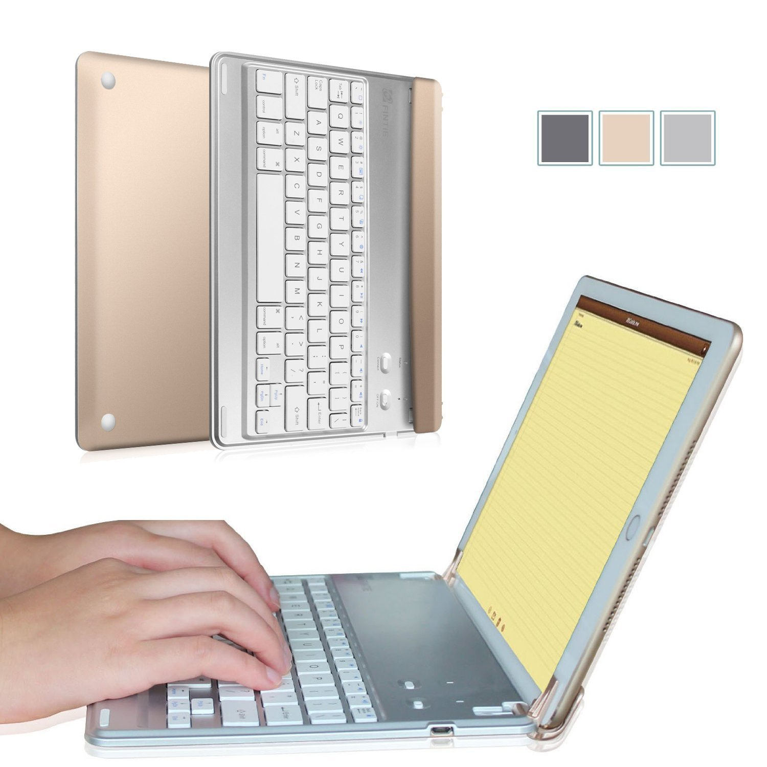 [Multi-Angle] Fintie Bluetooth Keyboard Case Cover with Auto Wake / Sleep for iPad Air 2 & iPad Pro 9.7-inch, Gold