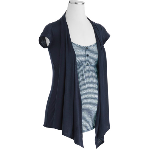 Planet Motherhood Maternity Cardigan 2fer Top With Tab Details