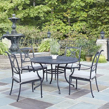 athens outdoor 5pc dining set with 48 dining table and 4 arm chairs