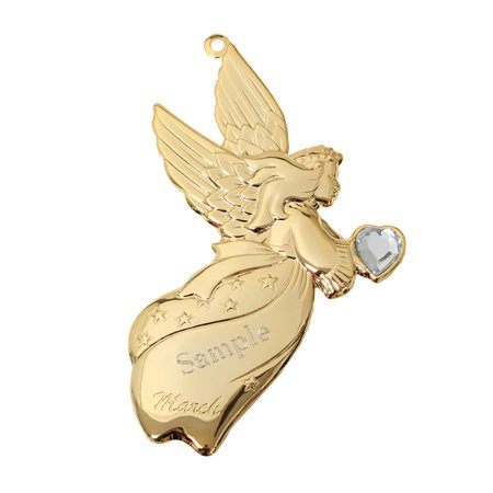 Personalized Goldtone Dapped Angel Ornament with Engraving - March](Personalized Engagement Ornaments)
