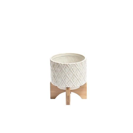 Benzara BM188208 Diamond Patterned Ceramic Flower Pot with Wooden Round Stand - White & Brown - Small - 5.5 x 5.5 x 6.75 in. ()