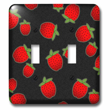 3dRose Strawberry Print Fresh Red Strawberries on Black Double Toggle