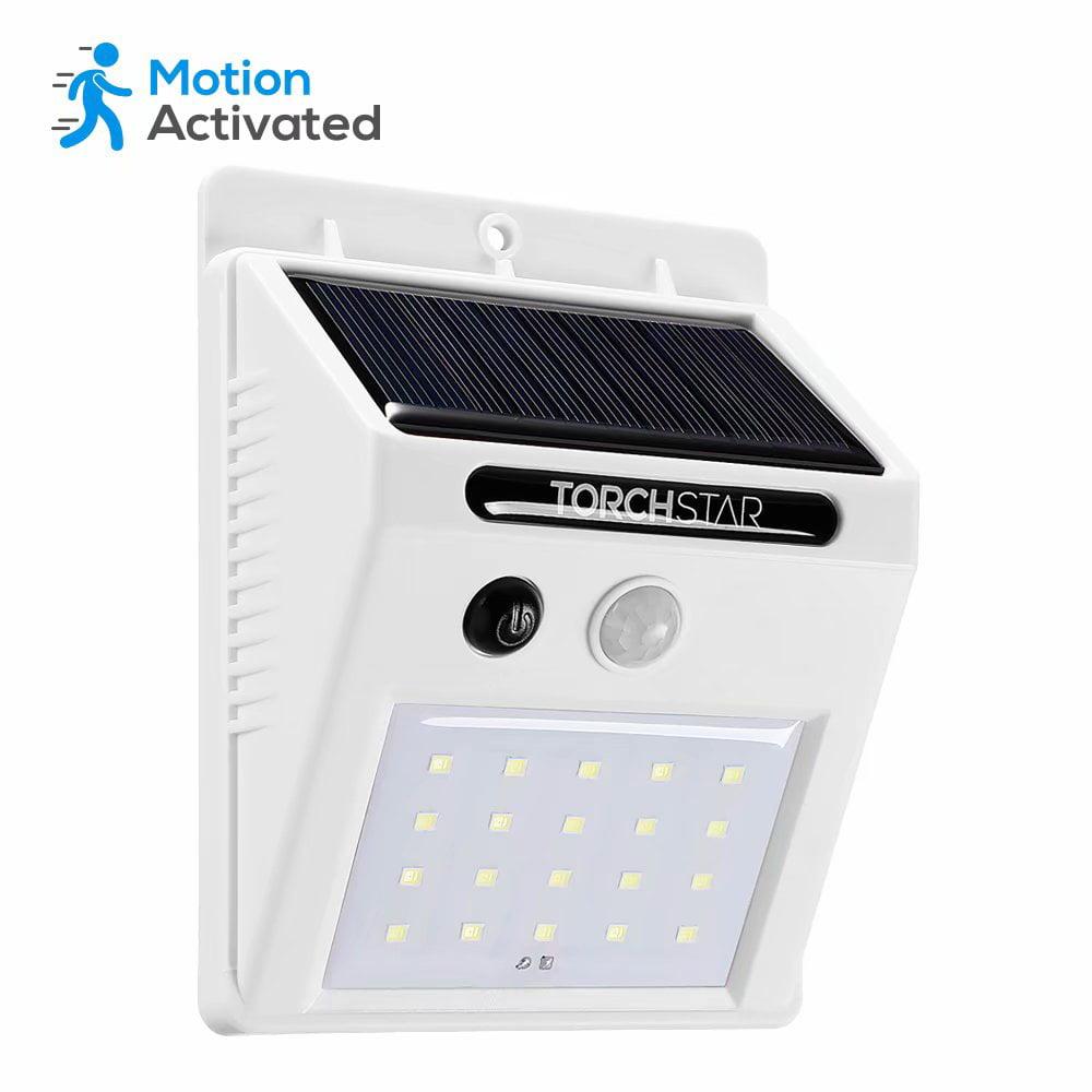 TORCHSTAR LED Solar Powered Motion Sensor Lights, Wireless Outdoor Wall Lighting, White