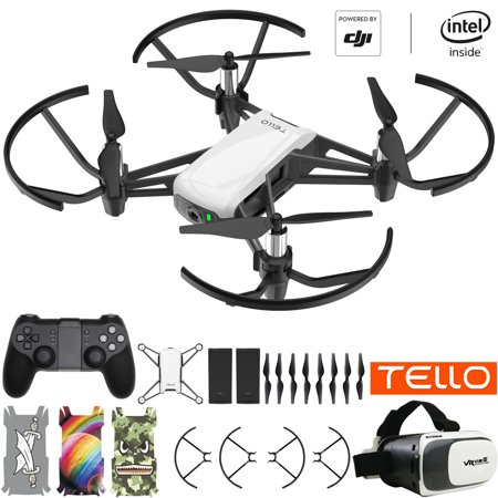 Tello Quadcopter Beginner Drone powered by DJI technology VR HD Video Premium Package with Extra Battery Remote Controller VR Goggles and Skin