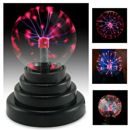 Moaere 3'' Plasma Ball Lamp Large Electric Globe Static Light Sensitive Lightning Glass Sphere with Touch Sound and Mini Tesla Energy Coil is Best Science Toy Nightlight for