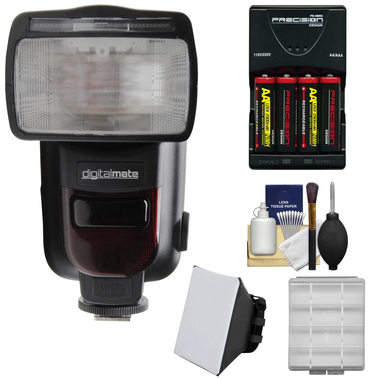 Digitalmate 780 Power Zoom AF ETTL Flash with LCD Display with Batteries & Charger + Soft Box Kit for Canon EOS DSLR Cameras