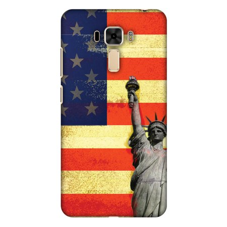 Asus ZenFone 3 Laser ZC551KL Case - Rustic Liberty US Flag, Hard Plastic Back Cover. Slim Profile Cute Printed Designer Snap on Case with Screen Cleaning