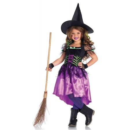 Girls' 2PC.Spiderweb Witch Costume w/ High Low Dress and Hat
