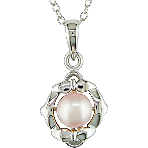"""5.5mm Pink Cultured Freshwater Pearl Pendant in Sterling Silver Pendant, 18"""""""