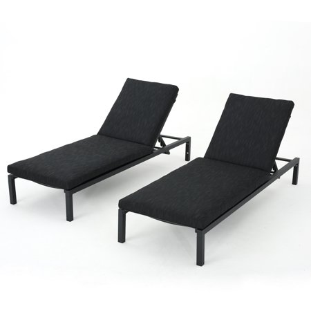 Nealie Outdoor Mesh Chaise Lounge With Aluminum Frame And Water Resistant Cushions Set Of 2