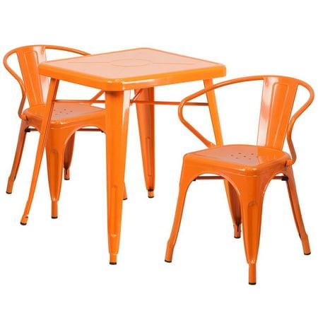Flash Furniture Metal 3 Piece Bistro Set in Red - image 4 of 9
