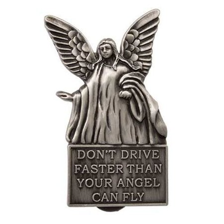 Don't Drive Faster Than Your Angel Flies - Silver Visor Clip