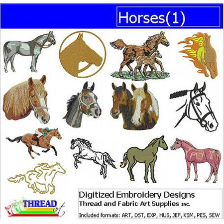 ThreadArt Machine Embroidery Designs Horses Version 1 CD