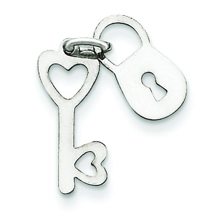 Gold Polished Lock Charm - 14K White Gold Polished Lock & Key Charm Pendant