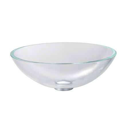 KRAUS Glass Vessel Sink in Crystal Clear with Pop-Up Drain and Mounting Ring in Satin Nickel